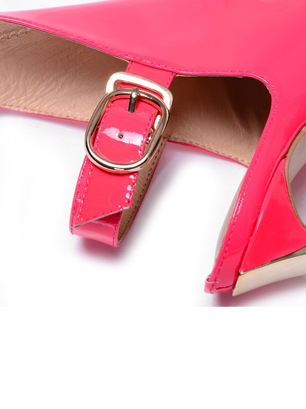 Women's Patent Leather Closed Toe Stiletto Heel With Buckle Ankle Boots
