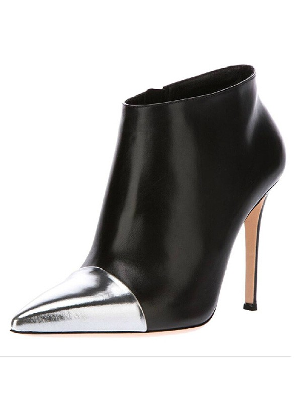 Women's Stiletto Heel Sheepskin Closed Toe With Zipper Ankle Boots