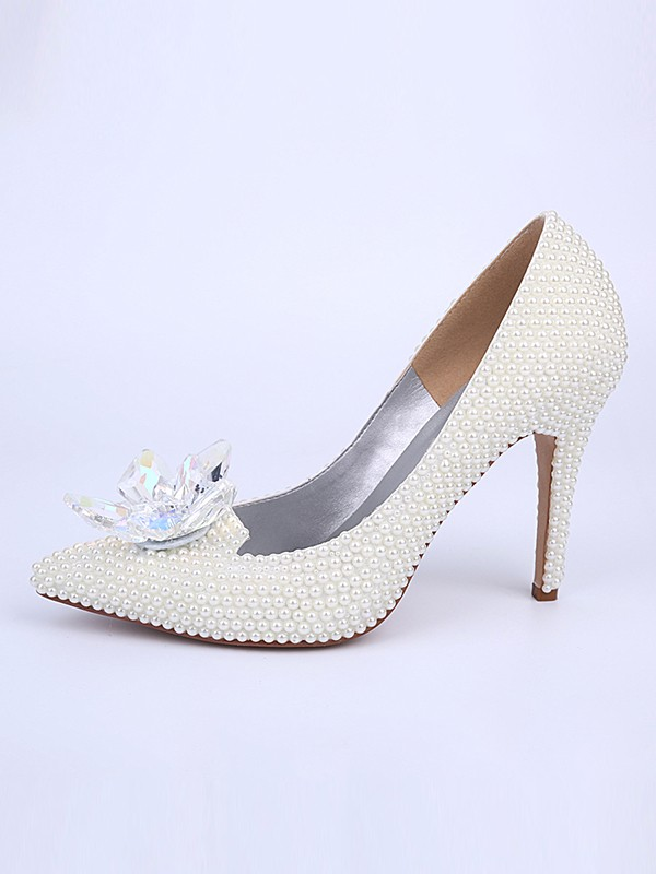 Women's Stiletto Heel With Pearl Crystal Flower Closed Toe Wedding Shoes