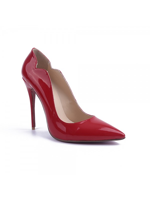 Women's Closed Toe Stiletto Heel Patent Leather Party Shoes