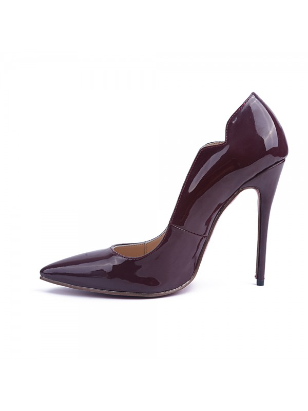 Women's Patent Leather Stiletto Heel Closed Toe Office Shoes