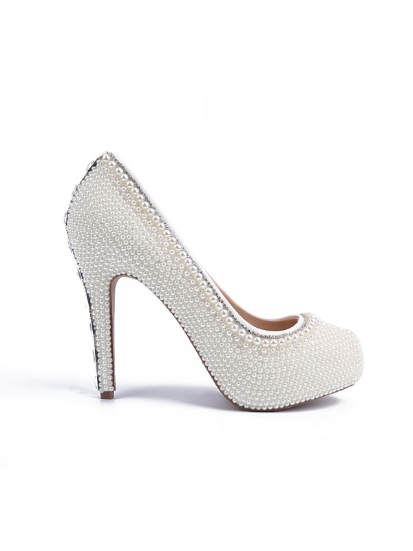 Women's Stiletto Heel Platform Patent Leather Closed Toe With Pearl Wedding Shoes