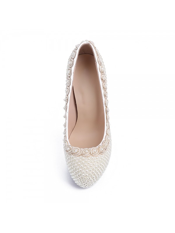 Women's Patent Leather Closed Toe Stiletto Heel Platform With Pearl Wedding Shoes