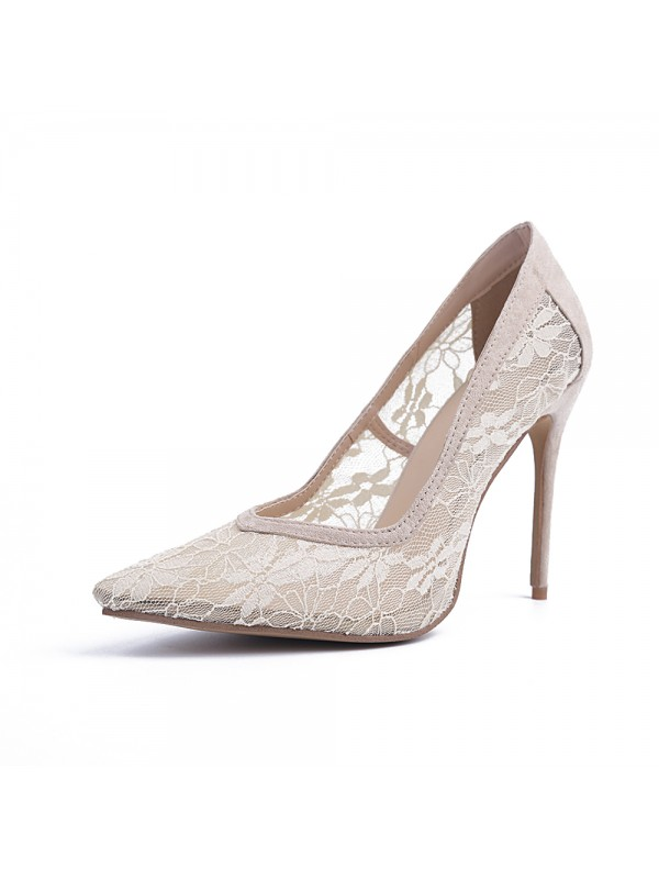 Women's Closed Toe Lace Stiletto Heel Party Shoes