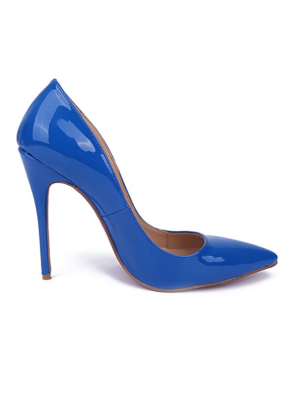 Women's Royal Blue Closed Toe Stiletto Heel Patent Leather Party Shoes