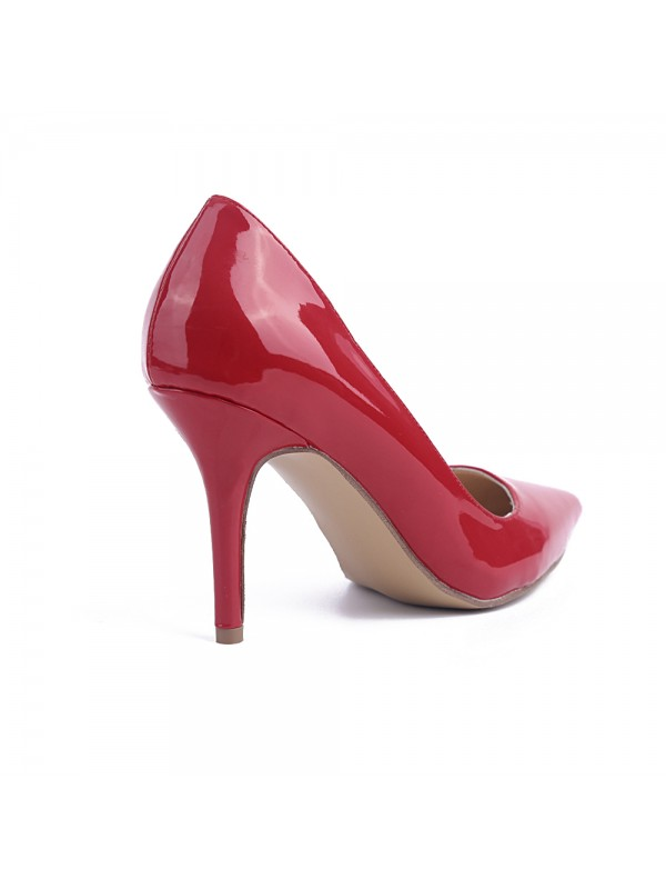 Women's Red Stiletto Heel Patent Leather Closed Toe Evening Shoes
