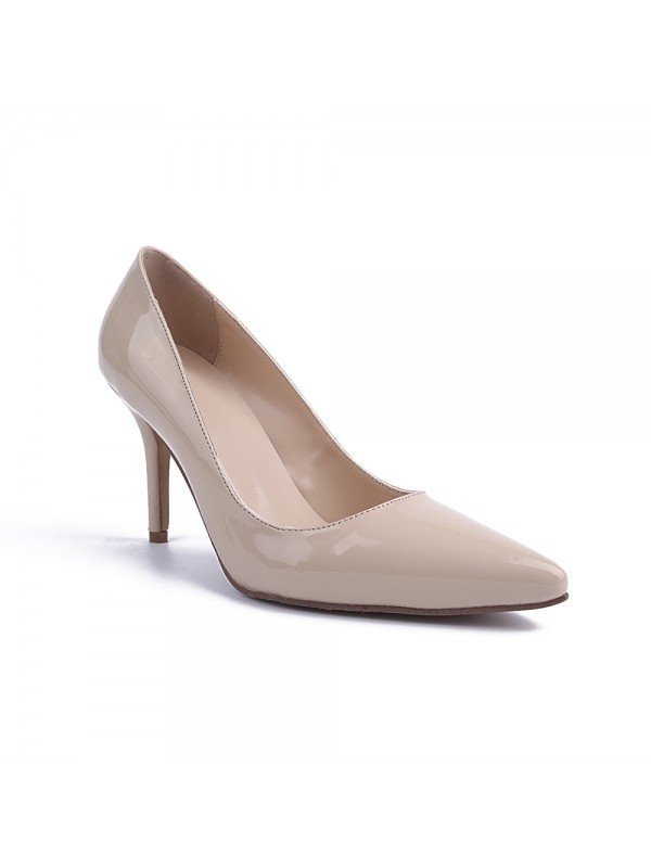 Women's Patent Leather Closed Toe Cone Heel Party Shoes