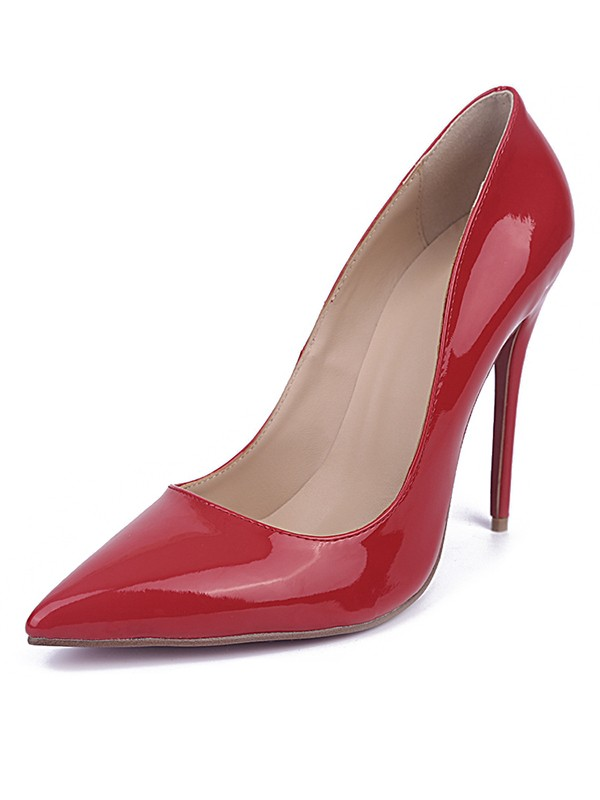 Women's Red Closed Toe Stiletto Heel Patent Leather Party Shoes