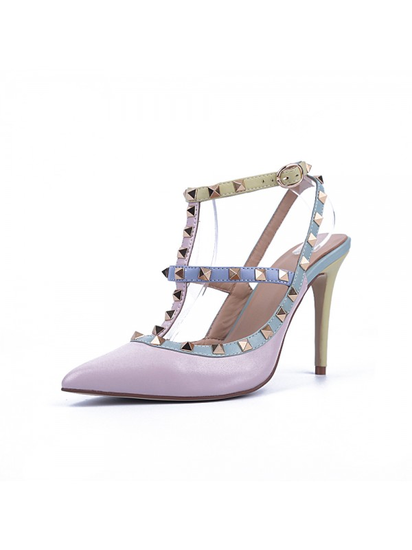 Women's Closed Toe Patent Leather Stiletto Heel With Rivet Sandal Shoes