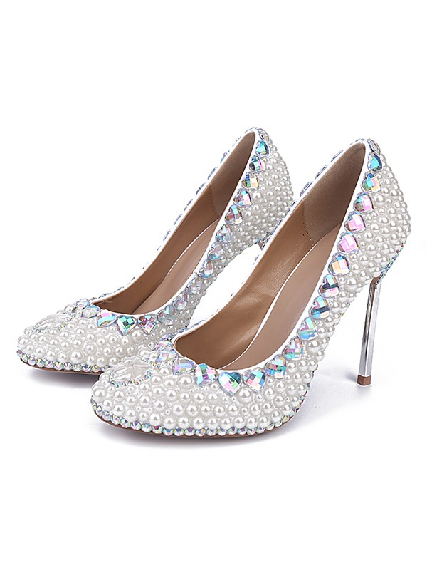 Women's Patent Leather Closed Toe Stiletto Heel With Pearl Wedding Shoes