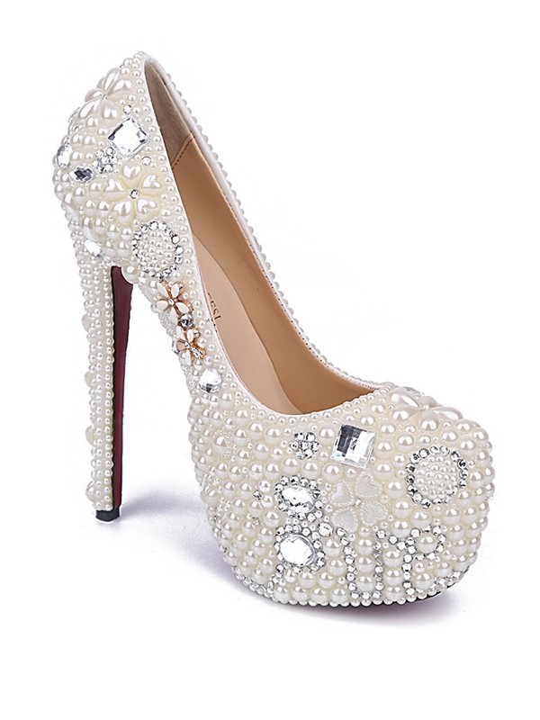 Women's Stiletto Heel Patent Leather Closed Toe With Pearl Evening Shoes