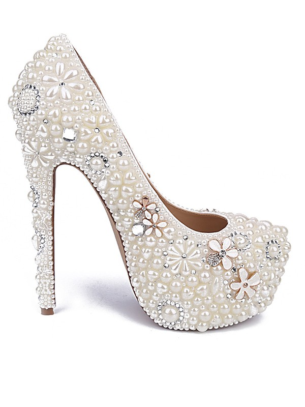 Women's Patent Leather Closed Toe Stiletto Heel With Pearl Rhinestone Wedding Shoes
