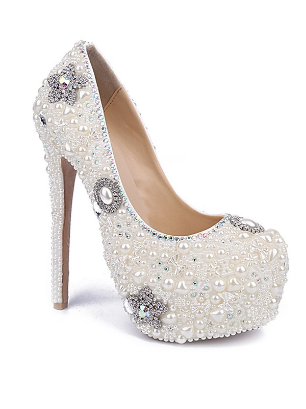Women's Stiletto Heel Patent Leather Closed Toe With Pearl Rhinestone Shoes