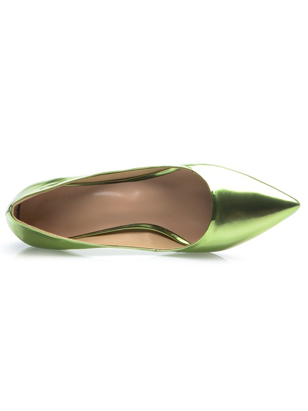 Women's Green Patent Leather Closed Toe Cone Heel Party Shoes