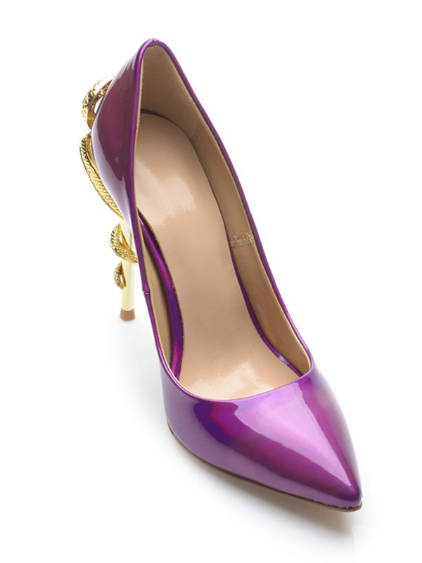 Women's Patent Leather Closed Toe Stiletto Heel With Rhinestone Evening Shoes
