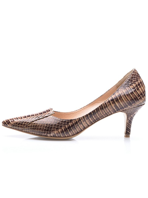 Women's Cone Heel Patent Leather Closed Toe With Crocodile Print Party Shoes