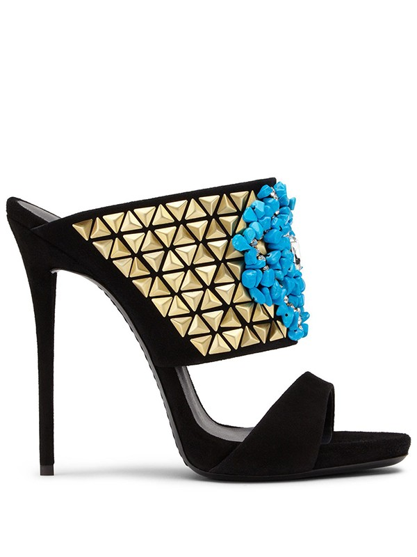 Women's Suede Peep Toe Stiletto Heel With Beading Party Sandal Shoes