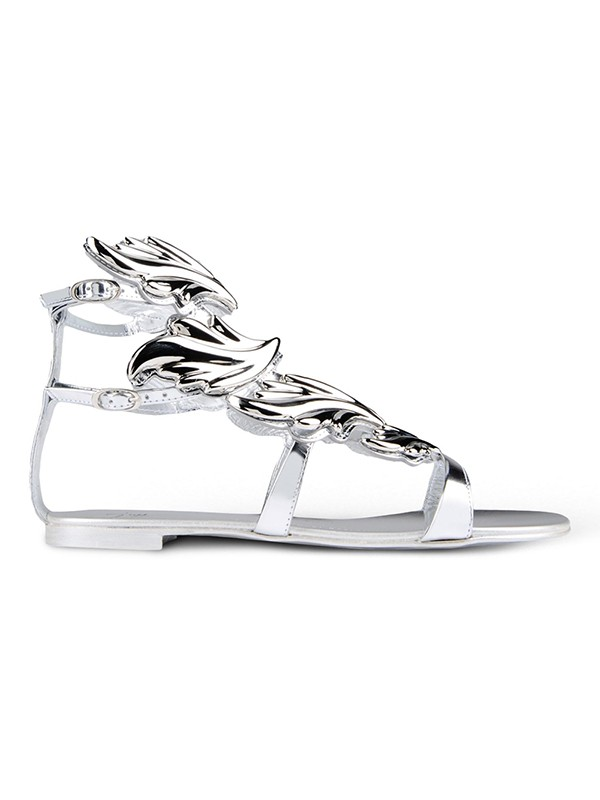 Women's Silver Patent Leather Peep Toe Flat Heel Casual Sandal Shoes