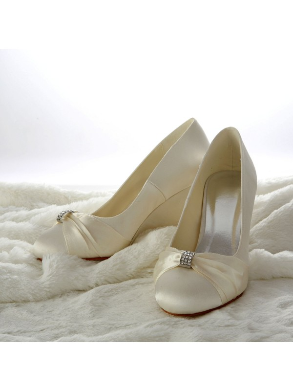 Women's Satin Wedge Heel Wedges With Rhinestone Wedding Shoes