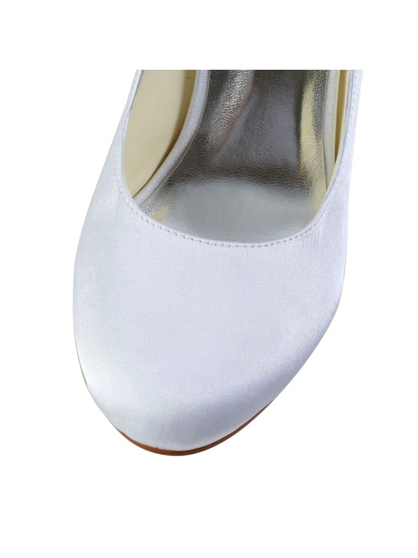 Women's Simples Satin Cone Heel Closed Toe Wedding Shoes