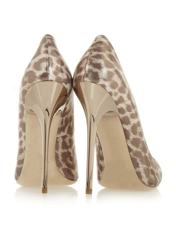 Women's Patent Leather Closed Toe Stiletto Heel With Leopard Print Prom Shoes