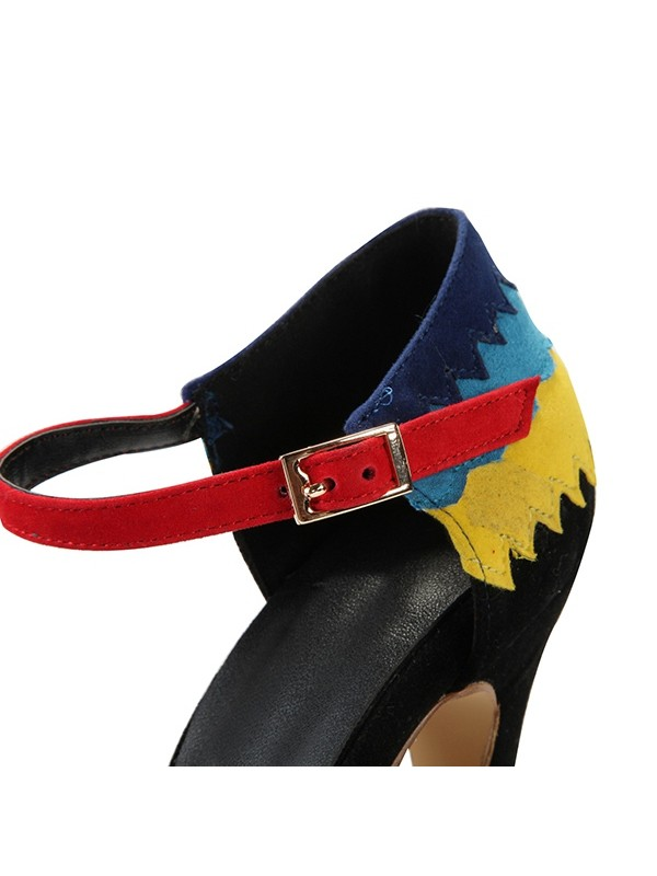 Women's Stiletto Heel Mary Jane Closed Toe Suede With Buckle Evening Shoes