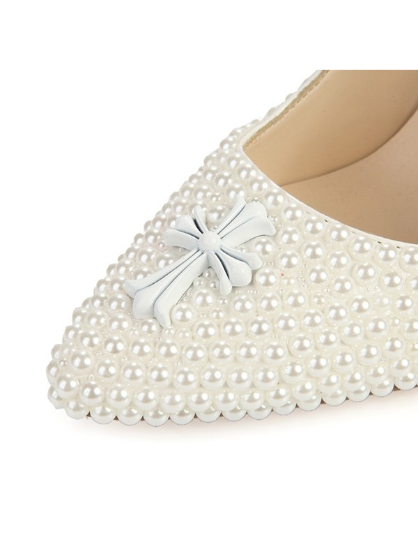 Women's Stiletto Heel Closed Toe Patent Leather With Pearl Wedding Shoes