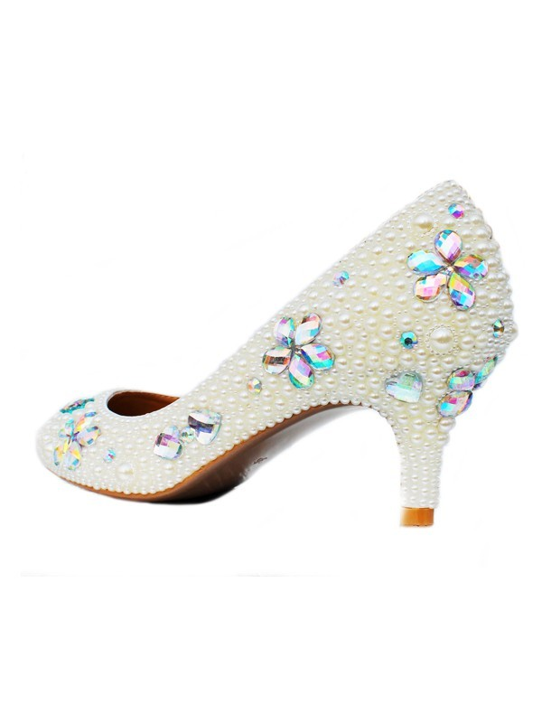 Women's Patent Leather Cone Heel Closed Toe With Pearl & Rhinestone Shoes