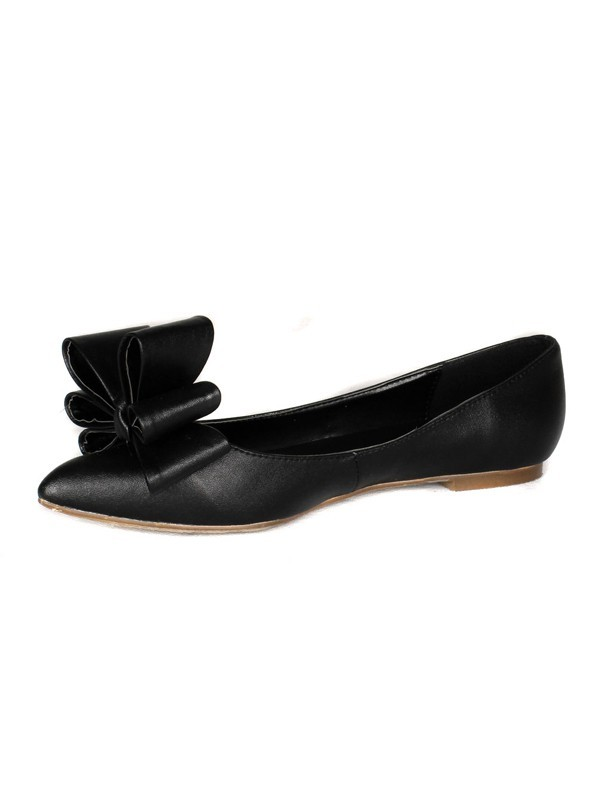 Women's Sheepskin Flat Heel Closed Toe With Bowknot Shoes