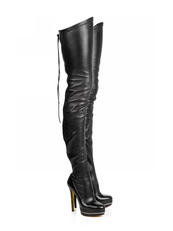 Women's Elastic Leather Stiletto Heel Platform Over The Knee Boots