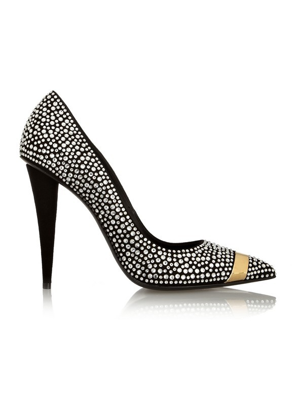 Women's Stiletto Heel Suede Closed Toe With Rhinestone Evening Shoes