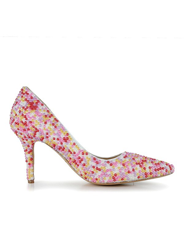 Women's Patent Leather Stiletto Heel Closed Toe With Pearl Dress Shoes