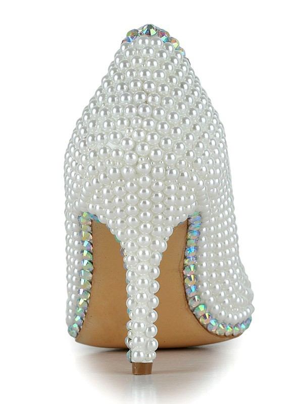 Women's Closed Toe Stiletto Heel Patent Leather With Pearl Wedding Shoes