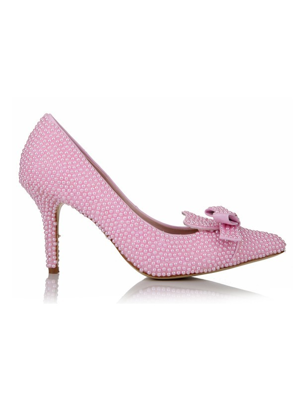 Women's Stiletto Heel Patent Leather Closed Toe With Pearl Bowknot Wedding Shoes