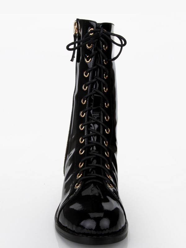 Women's Patent Leather Chunky Heel With Rivet Mid-Calf Boots