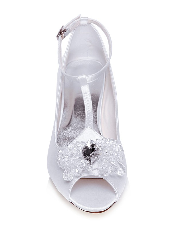 Women's Satin Peep Toe Cone Heel With Pearls Wedding Shoes