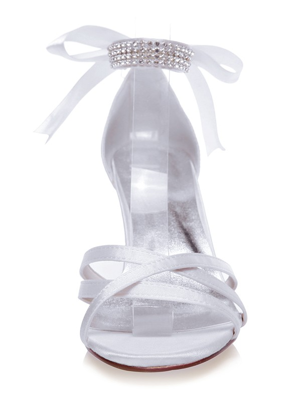 Women's Satin Peep Toe Stiletto Heel With Silk Wedding Shoes