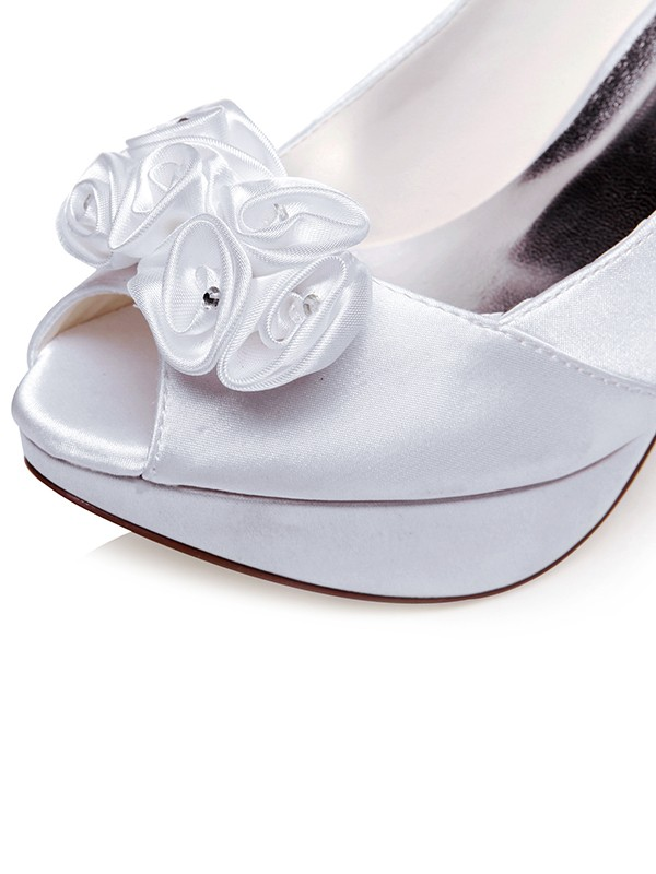 Women's Satin Peep Toe Stiletto Heel With Knots Wedding Shoes