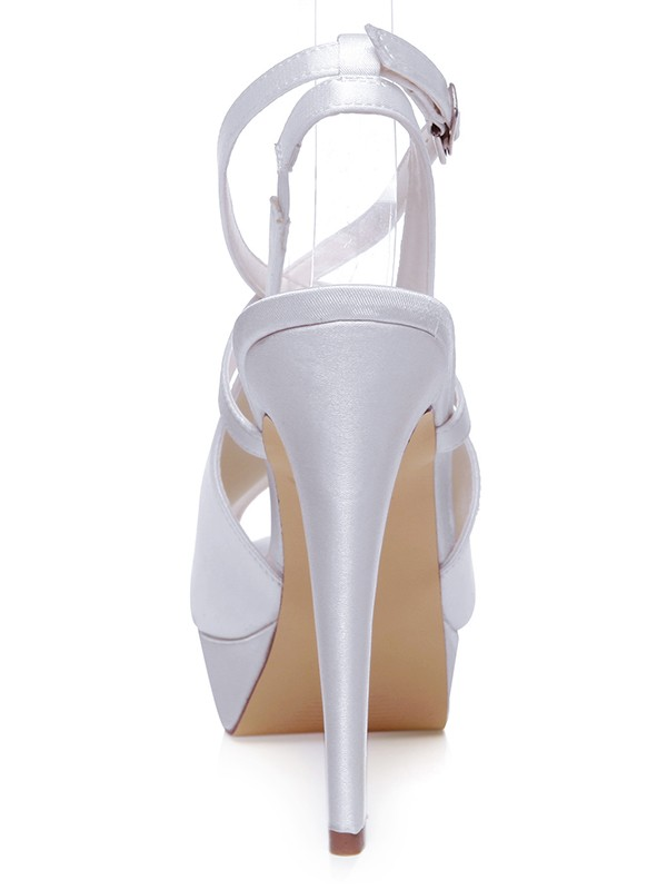 Women's Stiletto Heel Satin Peep Toe  With Knots Wedding Shoes