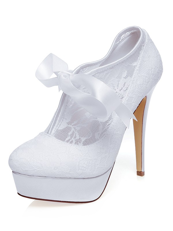 Women's Satin Closed Toe With Silk Stiletto Heel Wedding Shoes