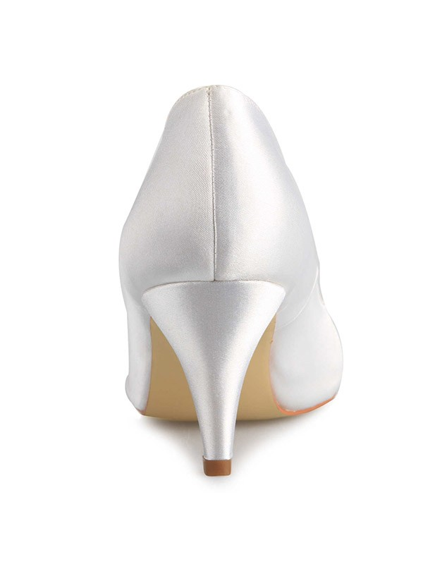 Women's Cone Heel Satin Closed Toe Wedding Shoes