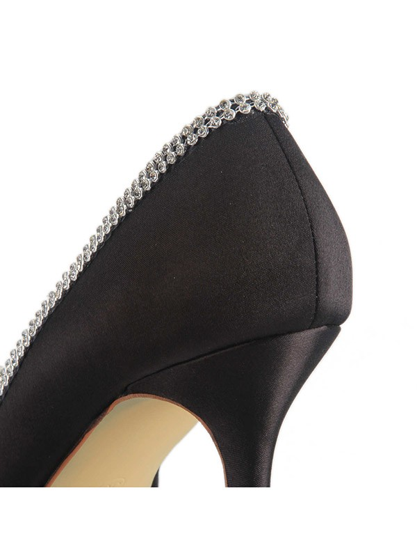 Women's Satin Spool Heel Closed Toe With Rhinestone Office Shoes