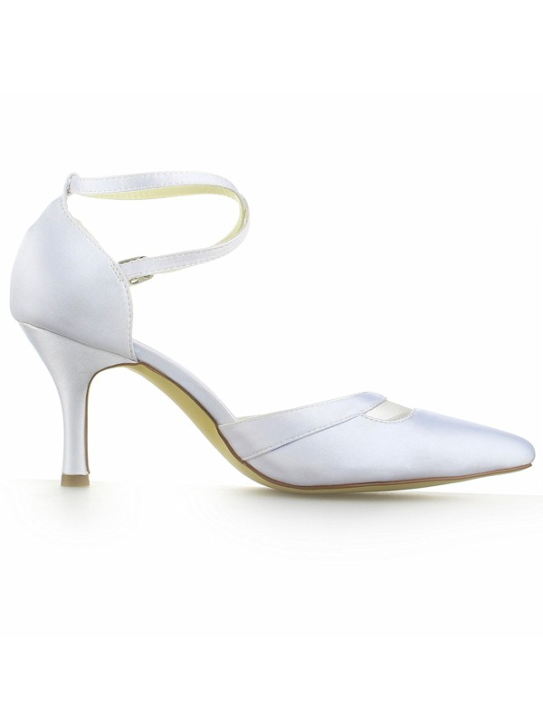 Women's White Satin Closed Toe Spool Heel With Buckle Wedding Shoes