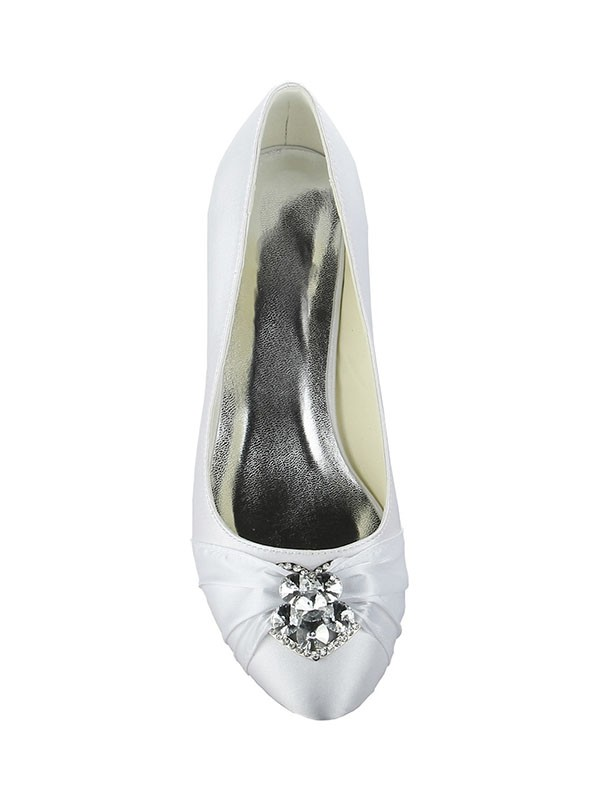 Women's Satin Lace Platform Closed Toe With Bowknot Kitten Heel Wedding Shoes
