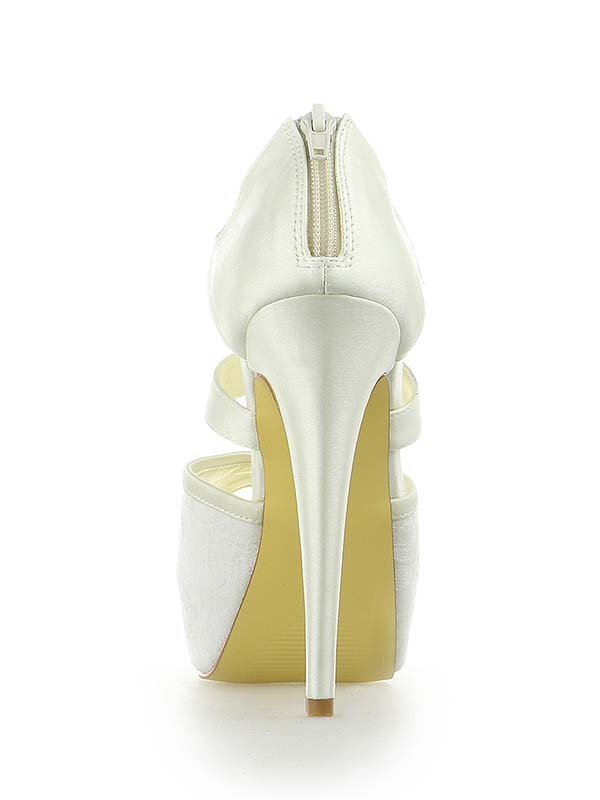 Women's Satin Lace Platform Peep Toe Stiletto Heel With Zipper Wedding Shoes