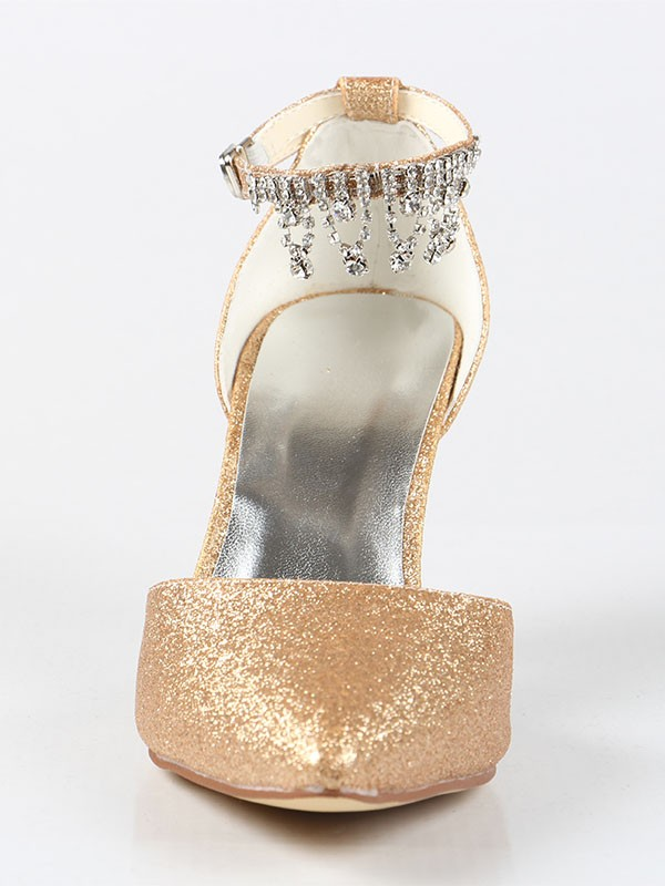 Women's Mary Jane Closed Toe Cone Heel With Rhinestone Shoes