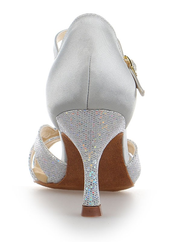 Women's Satin Stiletto Heel Peep Toe With Sparkling Glitter Wedding Shoes