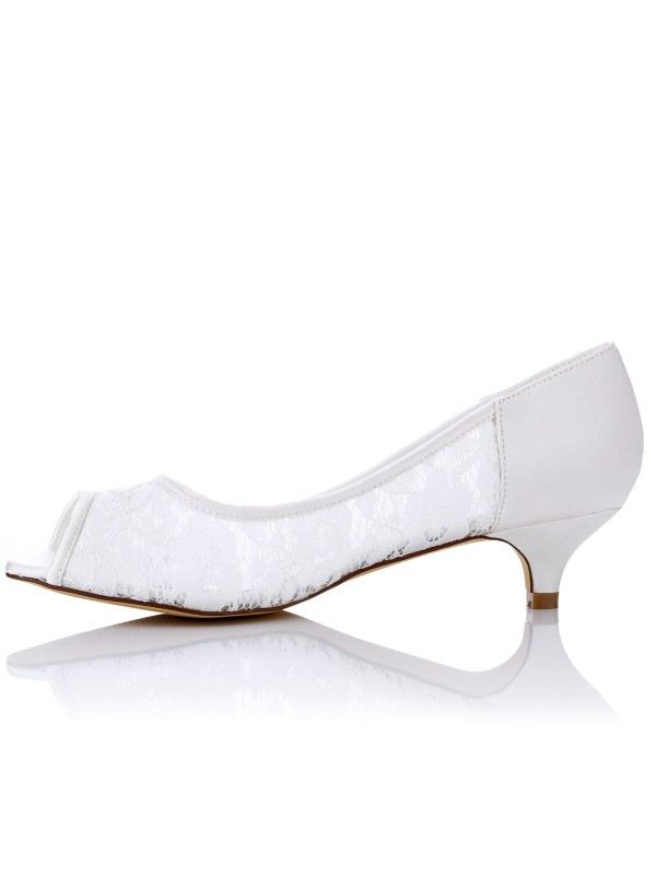 Women's Lace PU Peep Toe Kitten Heel Wedding Shoes