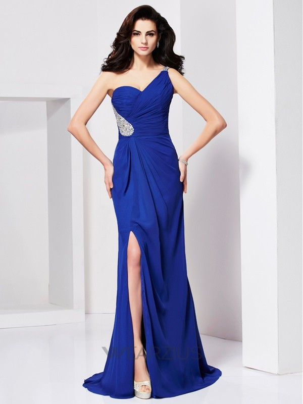 A-line/Princess Sleeveless One-shoulder Pleats Sweep/Brush Train Beading Dresses