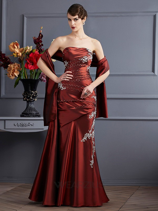 Sheath/Column Sleeveless Strapless Applique Beading Floor-Length Taffeta Dresses